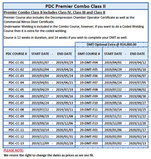 Premier Class II Commercial Diving Course Dates