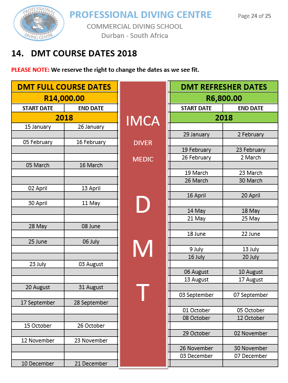 DMT Course Dates