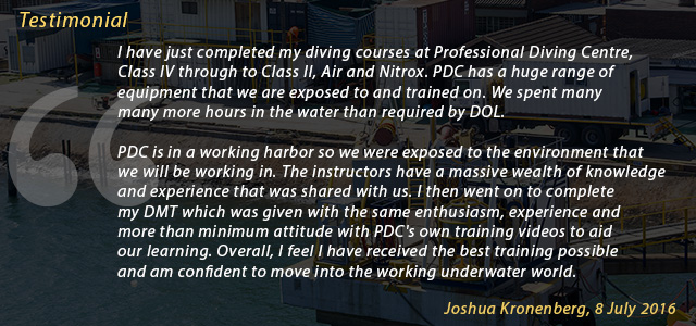 Commercial Diving School Testimonial